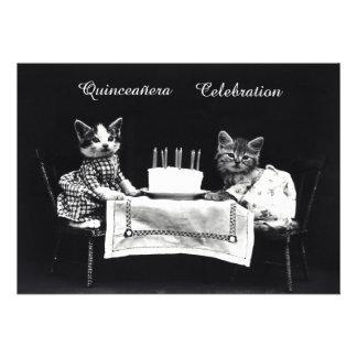 Fiesta de cumpleaños linda de los gatitos del vint invitacion personal