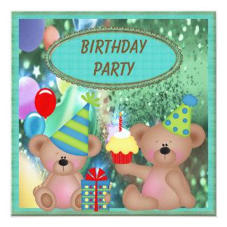 """Fiesta de cumpleaños linda de los osos de peluche invitación 5.25"""" x 5.25"""""""