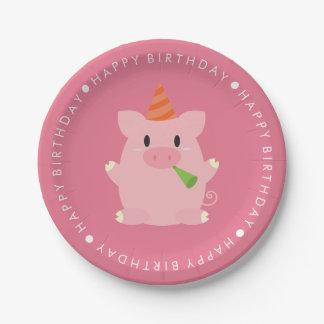 Fiesta de cumpleaños linda del cerdo plato de papel de 7 pulgadas