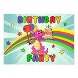 Fiesta de cumpleaños linda del dinosaurio de los invitación 12,7 x 17,8 cm