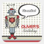 Fiesta de cumpleaños linda del muchacho de los calcomania cuadrada personalizada