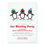 Fiesta de cumpleaños linda del patinaje de hielo comunicados personalizados