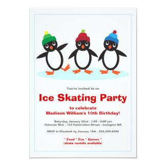 Fiesta de cumpleaños linda del patinaje de hielo invitación 12,7 x 17,8 cm