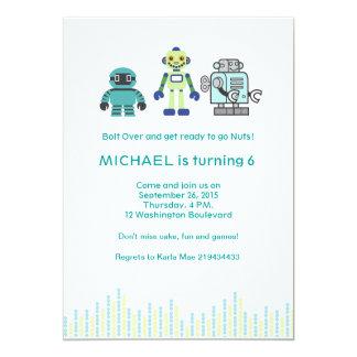 """Fiesta de cumpleaños linda del robot invitación 5"""" x 7"""""""