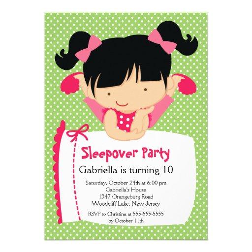 Fiesta de cumpleaños LINDA del Sleepover Inviation Anuncio