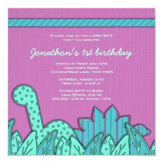 Fiesta de cumpleaños linda del tema del dinosaurio invitación 13,3 cm x 13,3cm