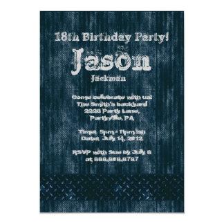 """Fiesta de cumpleaños llevada metal del dril de invitación 5"""" x 7"""""""