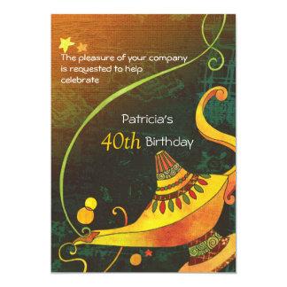 """Fiesta de cumpleaños mágica de la lámpara del invitación 5"""" x 7"""""""