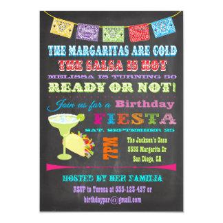 """Fiesta de cumpleaños mexicana de la fiesta de la invitación 5"""" x 7"""""""