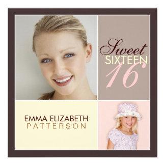 Fiesta de cumpleaños moderna del dulce dieciséis d comunicado personal