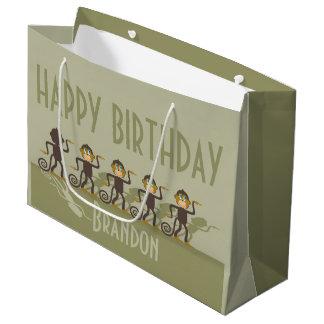 Fiesta de cumpleaños, monos, safari bolsa de regalo grande