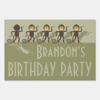 Fiesta de cumpleaños, monos, safari cartel