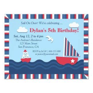 Fiesta de cumpleaños náutica blanca del tema del invitación 10,8 x 13,9 cm