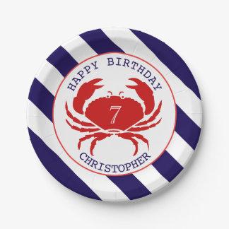 Fiesta de cumpleaños náutica del cangrejo platos de papel