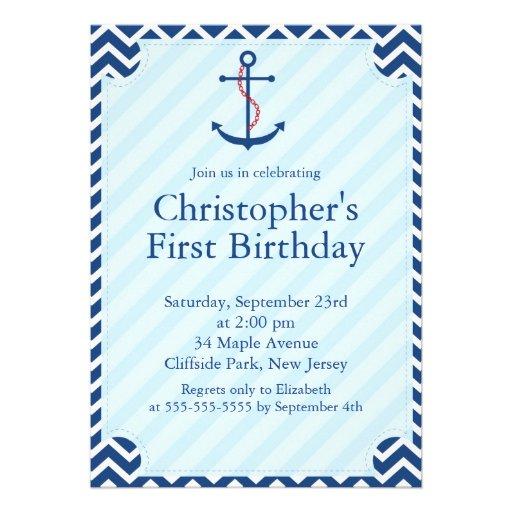 Fiesta de cumpleaños náutica moderna del ancla del invitaciones personalizada