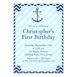 Fiesta de cumpleaños náutica moderna del ancla del invitación 12,7 x 17,8 cm