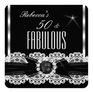 Fiesta de cumpleaños negra de plata de la perla 50 invitaciones personalizada