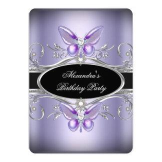 """Fiesta de cumpleaños negra de plata púrpura de la invitación 5"""" x 7"""""""