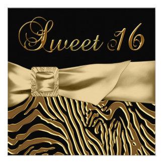 Fiesta de cumpleaños negra del dulce 16 de la cebr comunicado personalizado