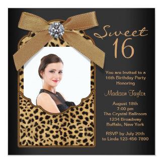 """Fiesta de cumpleaños negra del dulce 16 de la foto invitación 5.25"""" x 5.25"""""""