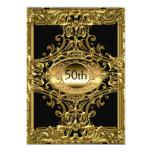 Fiesta de cumpleaños negra del mejor 50.o oro invitaciones personalizada