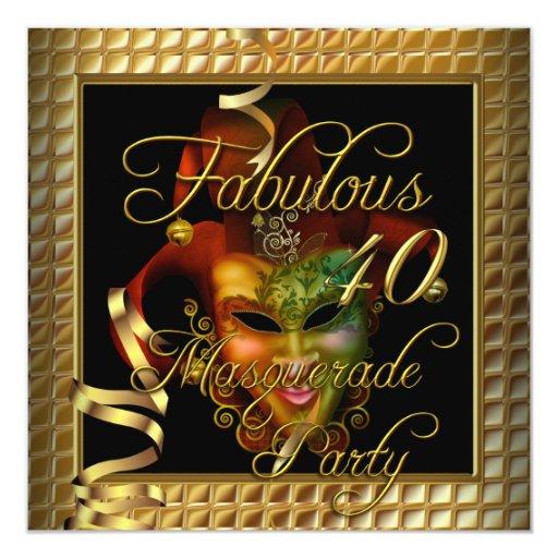 Fiesta de cumpleaños negra del oro fabuloso 40 de invitación 13,3 cm x 13,3cm