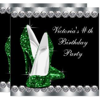 """Fiesta de cumpleaños negra elegante del verde invitación 5.25"""" x 5.25"""""""