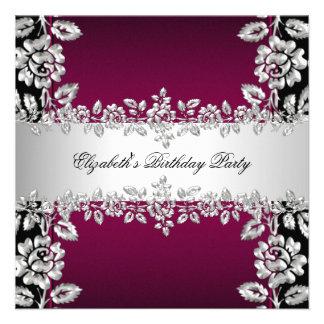 Fiesta de cumpleaños negra floral de plata de Borg Invitaciones Personalizada