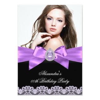 """Fiesta de cumpleaños negra púrpura elegante de la invitación 5"""" x 7"""""""