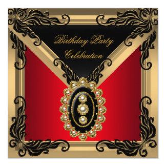 Fiesta de cumpleaños negra roja del oro de la invitación 13,3 cm x 13,3cm