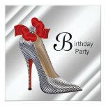 Fiesta de cumpleaños negra roja del zapato del comunicado personal
