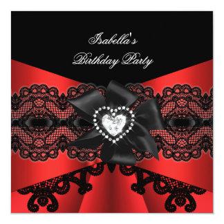 """Fiesta de cumpleaños negra roja elegante del arco invitación 5.25"""" x 5.25"""""""