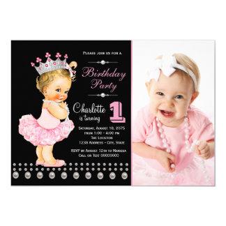 """Fiesta de cumpleaños negra rosada de princesa Girl Invitación 5"""" X 7"""""""