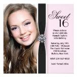 Fiesta de cumpleaños negra rosada del dulce 16 de  invitación personalizada