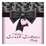 Fiesta de cumpleaños negra rosada del dulce 16 del invitaciones personales