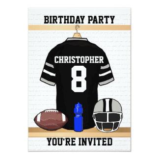 """Fiesta de cumpleaños negra y gris del jersey del invitación 5"""" x 7"""""""