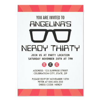 Fiesta de cumpleaños Nerdy treinta con los vidrios Anuncio Personalizado