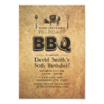 Fiesta de cumpleaños oxidada del Bbq de la carne Invitación 8,9 X 12,7 Cm