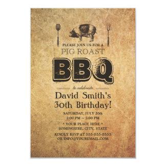 """Fiesta de cumpleaños oxidada del Bbq de la carne Invitación 3.5"""" X 5"""""""