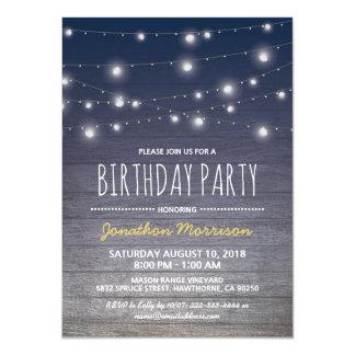 """Fiesta de cumpleaños para hombre adulta azul invitación 4.5"""" x 6.25"""""""