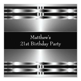 """Fiesta de cumpleaños para hombre de plata negra invitación 5.25"""" x 5.25"""""""