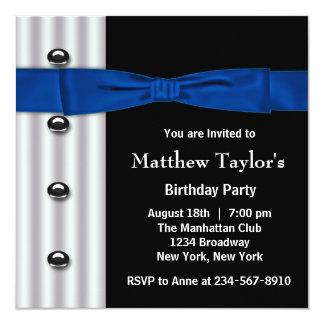 """Fiesta de cumpleaños para hombre del negro azul de invitación 5.25"""" x 5.25"""""""