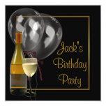 Fiesta de cumpleaños para hombre del negro del oro anuncios personalizados