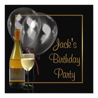 """Fiesta de cumpleaños para hombre del negro del oro invitación 5.25"""" x 5.25"""""""