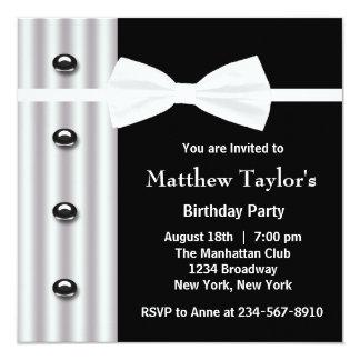 """Fiesta de cumpleaños para hombre negra de la invitación 5.25"""" x 5.25"""""""