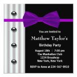 Fiesta de cumpleaños para hombre púrpura de la invitaciones personales