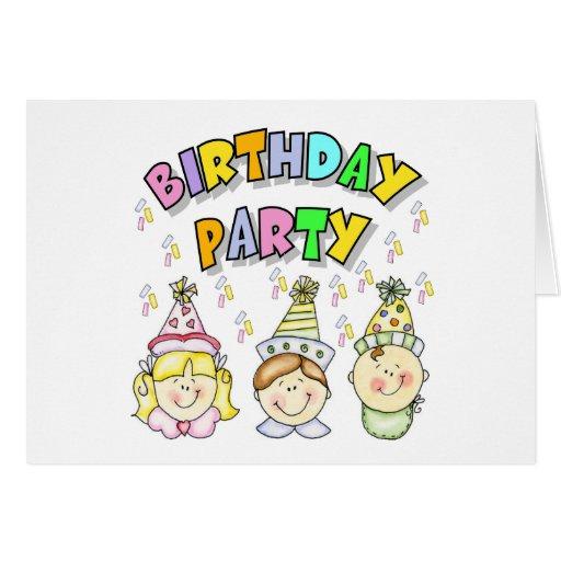 Fiesta de cumpleaños para los niños tarjeta de felicitación