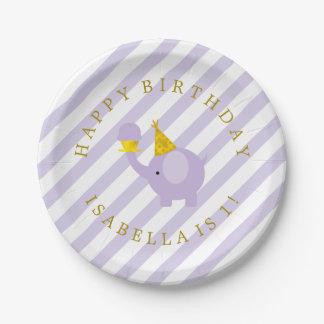 Fiesta de cumpleaños personalizada elefante plato de papel de 7 pulgadas