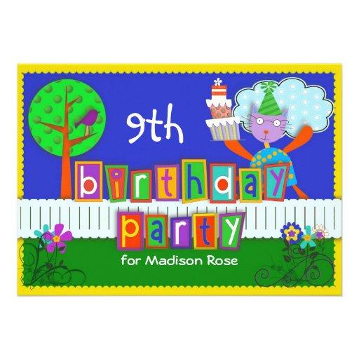 Fiesta de cumpleaños personalizada felina enrrolla comunicado