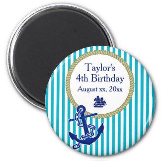 Fiesta de cumpleaños personalizada náutica imán redondo 5 cm